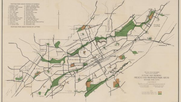 """The Olmsted Brothers published """"A Park System for Birmingham"""" in 1925."""