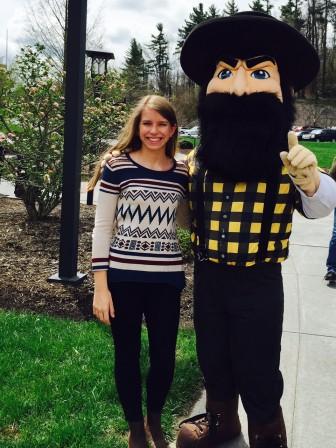 Meagan Williams poses with Yosef, Appalachian State University's mascot.