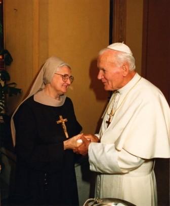 Mother visiting Pope John Paul II, now Saint John Paul II.
