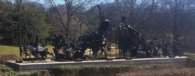 """Dial's sculpture """"The Bridge"""" is in Freedom Park in Atlanta. It was inspired by the life and work of Congressman John Lewis. (https://commons.wikimedia.org/wiki/File:The_Bridge_Thornton_Dial.jpg)"""