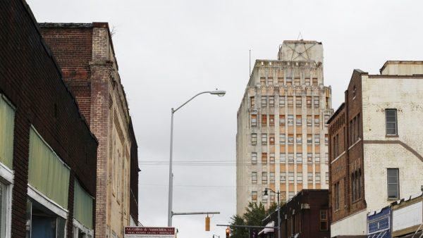 The Ramsay McCormack Tower rises above Birmingham's Ensley neighborhood.
