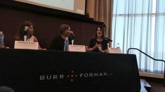 Kristen Julbert speaks at a Tech Birmingham panel regarding women in leadership.