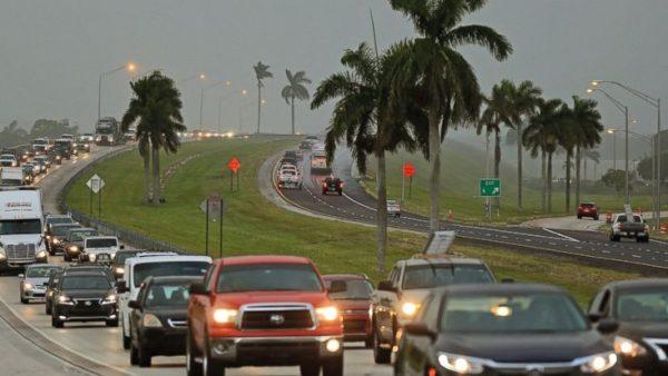Traffic heading north along the Florida Turnpike near Homestead as residents evacuate to flee Hurricane Irma.