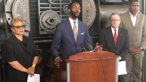 Birmingham Mayor-elect Randall Woodfin announces his transition team leadership, from left, Bobbie Knight, Woodfin, Gen. Charles Krulak and Ed Fields