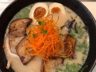 Traditional Japanese tonkatsu ramen features a creamy pork broth. All other ingredients are up to the customer.