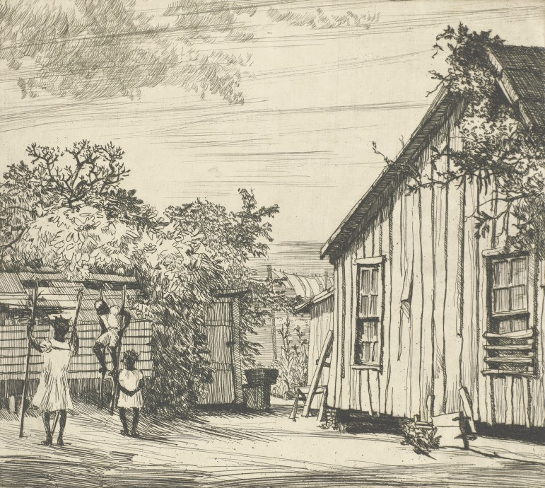 Richard B. Coe, American 1904–1978, Stilt Walkers, about 1935, etching on paper; Lent by John Peter Crook McCall