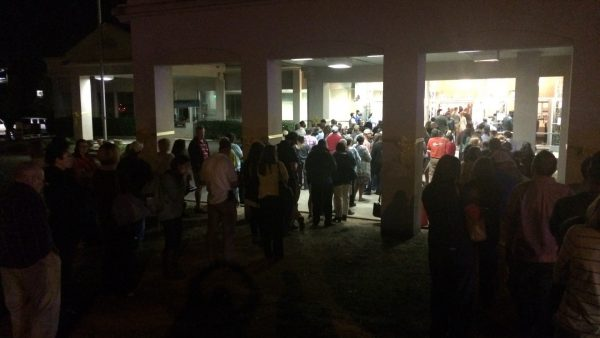 Lines of residents waiting to vote outside of the Trussville Municipal Building on November 8, 2016.