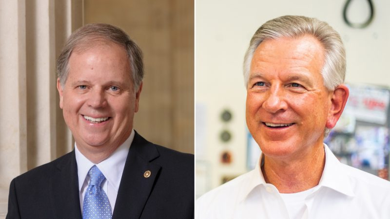 headshots of U.S. Senator Doug Jones and former Auburn University football coach Tommy Tuberville