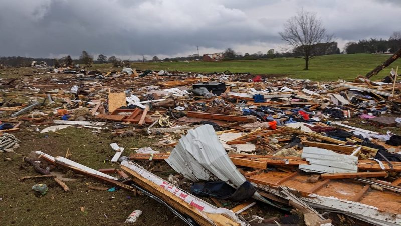 lots of debris after the storm pass through Clanton, Alabama