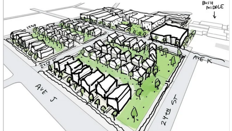Redevelopment plan for the old Ensley High School property by Zimmerman Properties.