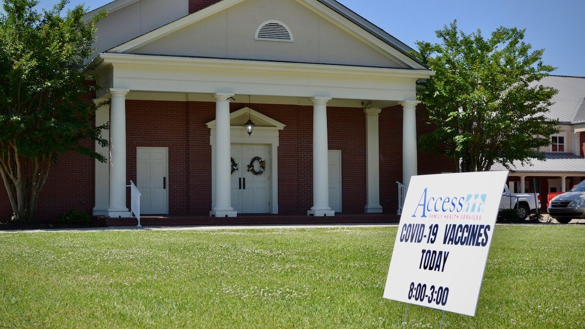 A sign outside a vaccination event in Meadowood Baptist Church in Amory, Miss.