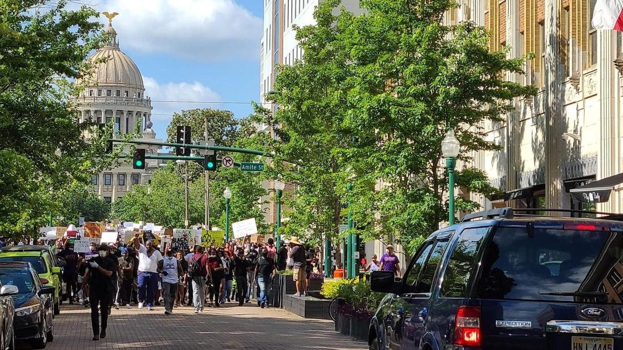 Thousands of protestors march through downtown Jackson, Miss. in June 2020 after the police killing of George Floyd in Minneapolis.