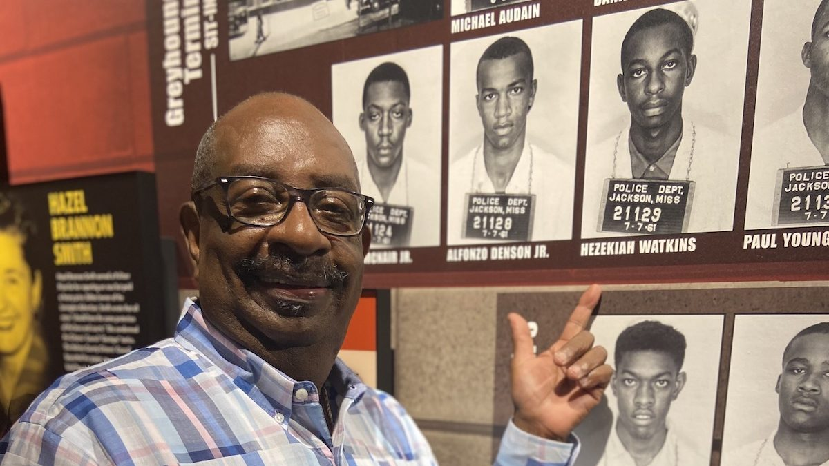Hezekiah Watkins, a civil rights activist and Freedom Rider, points to his mugshot in the Mississippi Civil Rights Museum. He was 13-years-old when he was arrested and taken to Parchman Penitentiary.