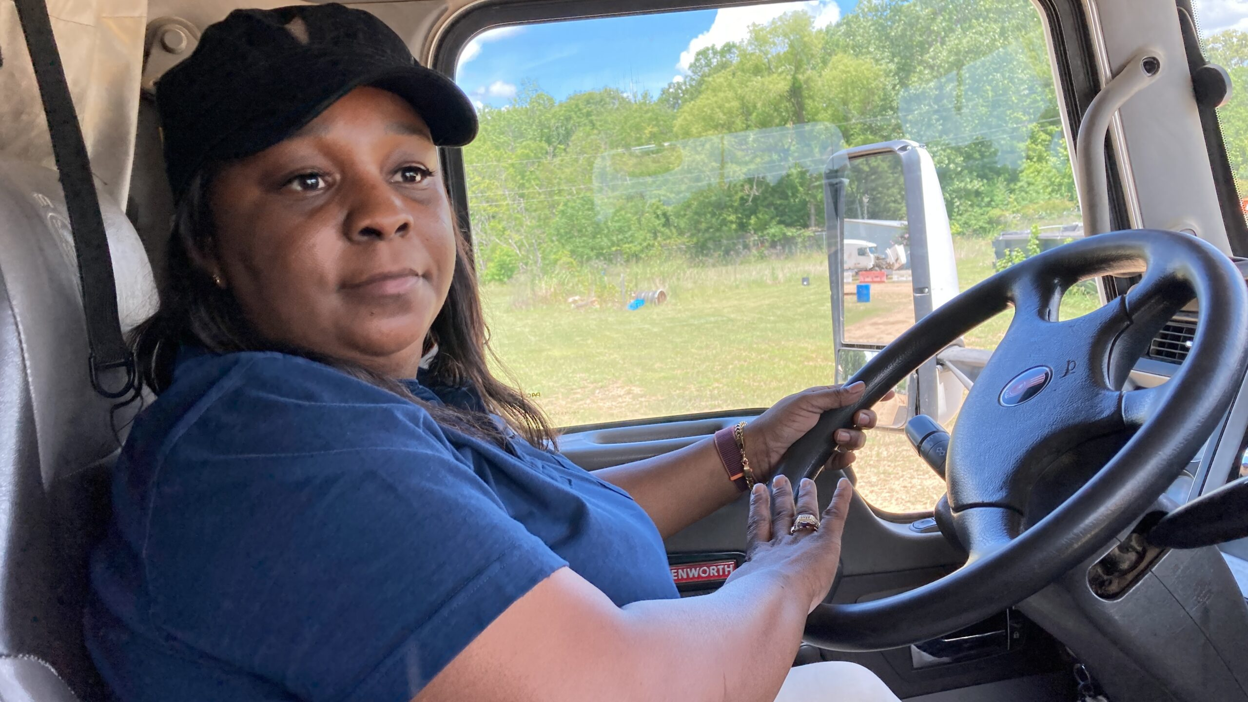 Pamela Williams, an instructor with DSC Training Academy in Jackson, Mississippi, demonstrates how to drive one of the academy's trucks. June 29, 2021