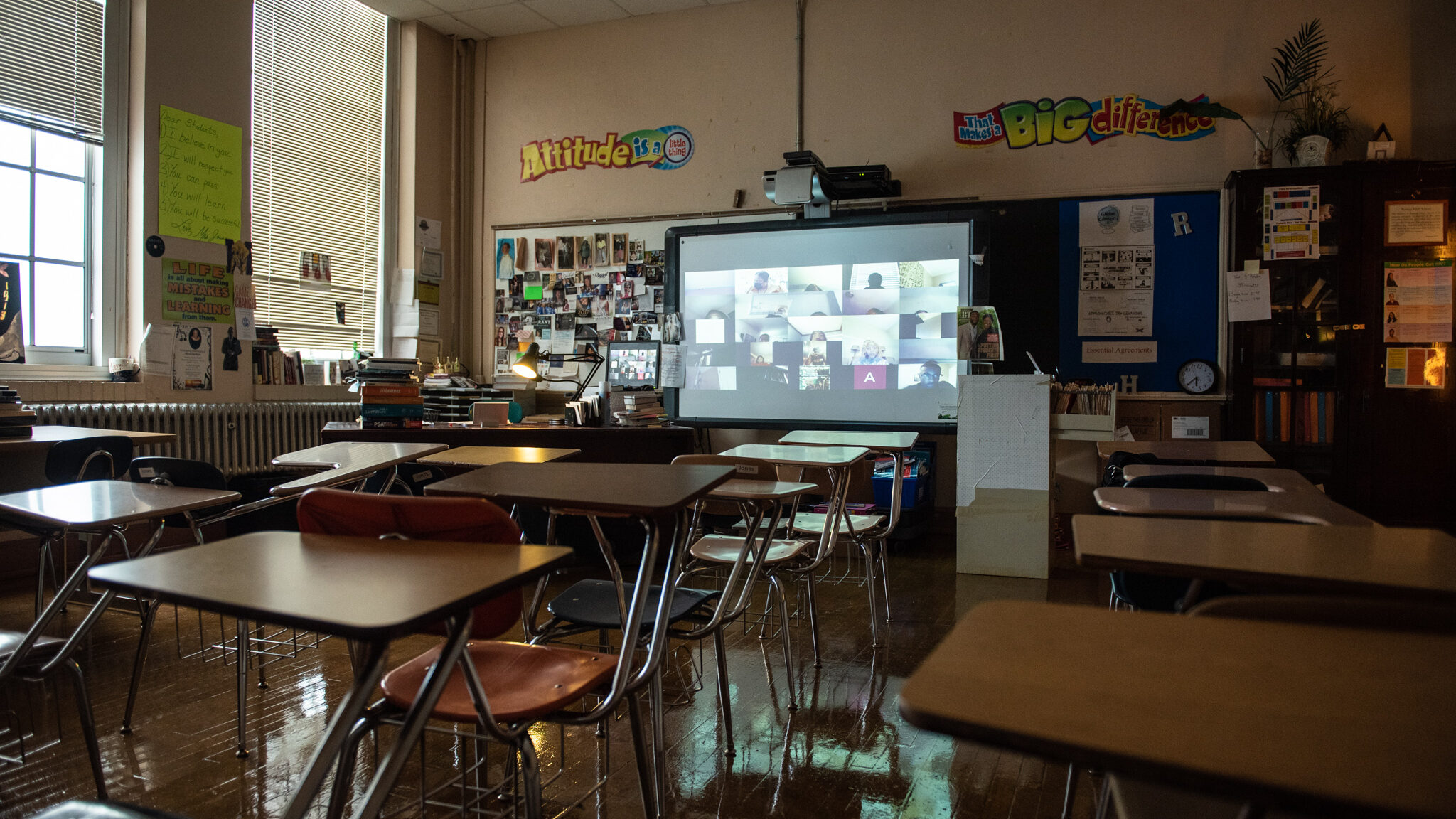 Erica Jones' English classroom was featured in the exhibit. It showed her last virtual class of the semester