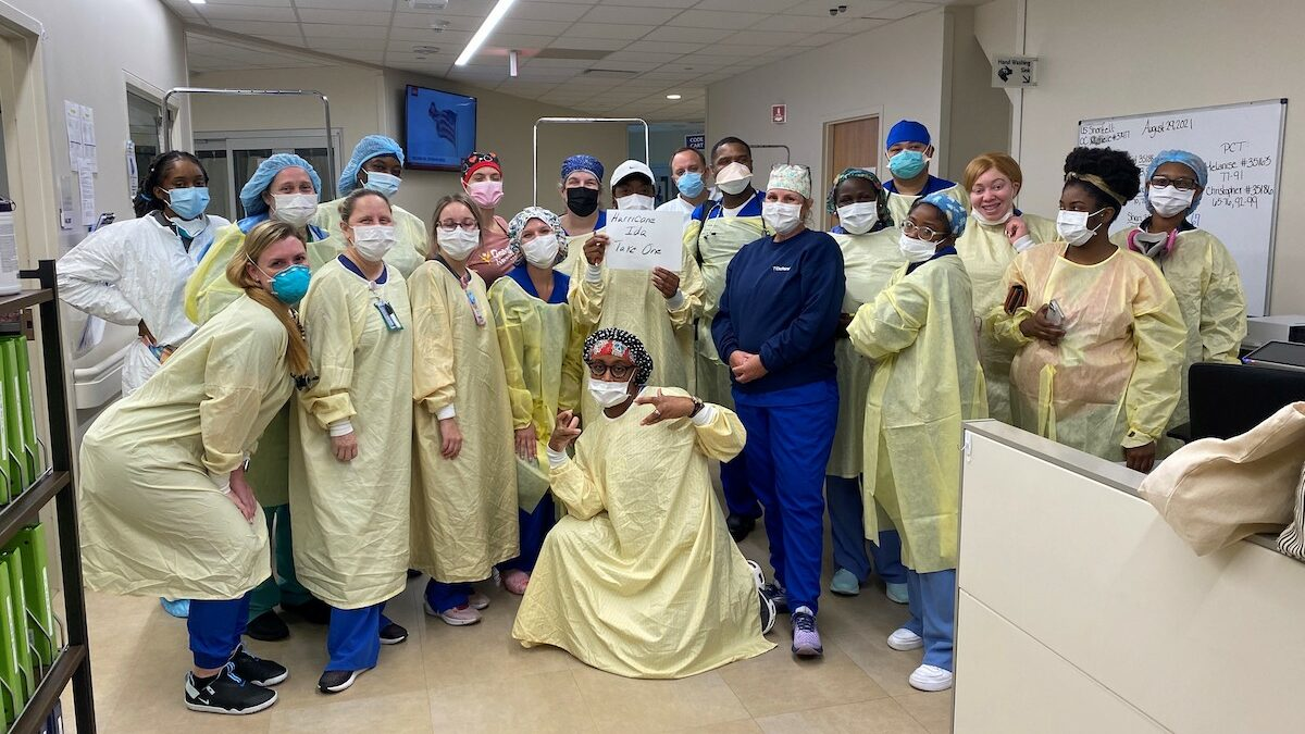 Healthcare workers at Ochsner Medical Center in New Orleans get ready to care for patients during Hurricane Ida.