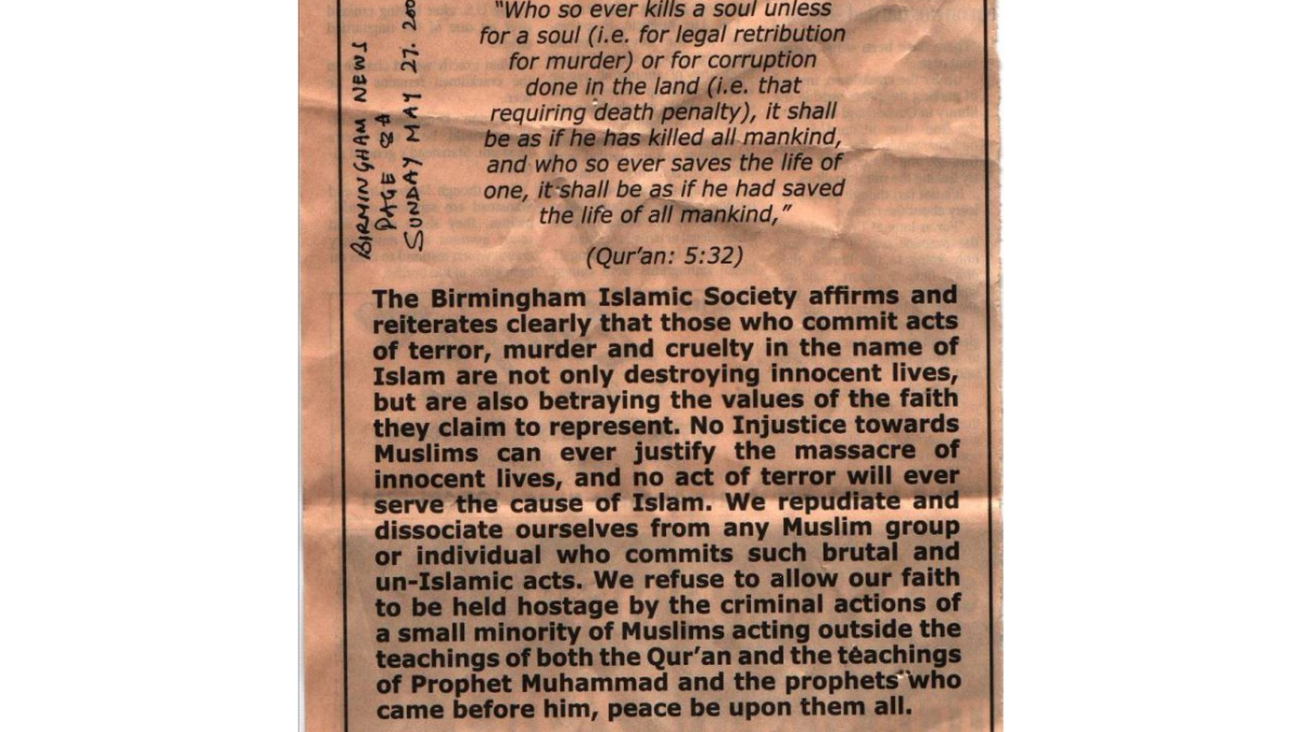 The Birmingham Islamic Society's statement on its stand against terroism